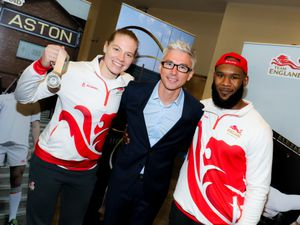Birmingham-born squash player Sarah-Jane Perry and wrestler Nathaniel Brown with Jonathan Edwards at the event