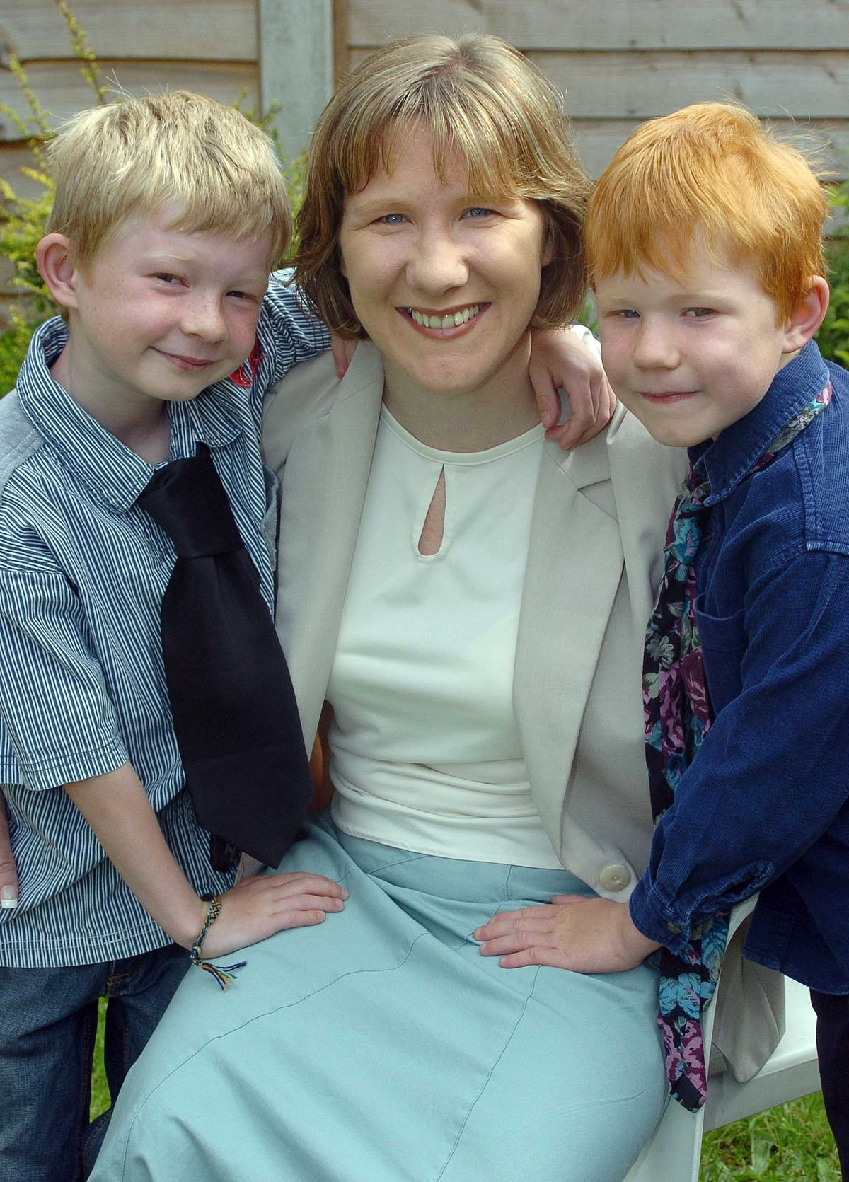 Carol after winning 'Most Exceptional Working Mother' award with Morgan and Dylan, aged seven and five at the time.
