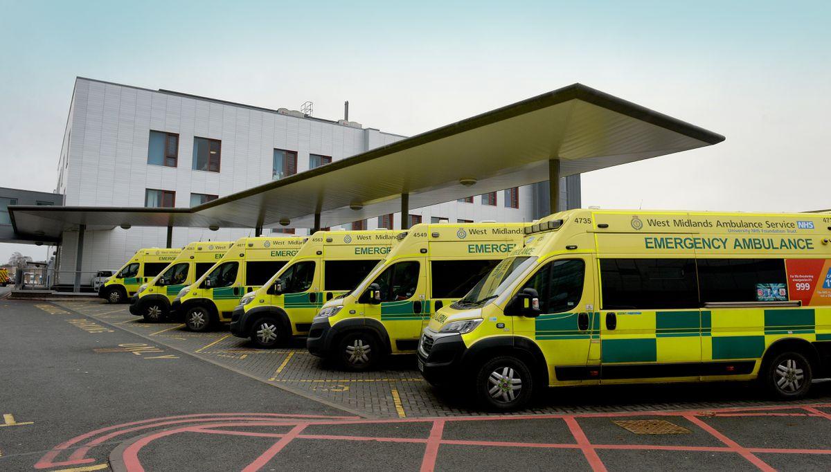 Ambulances lined up at New Cross Hospital