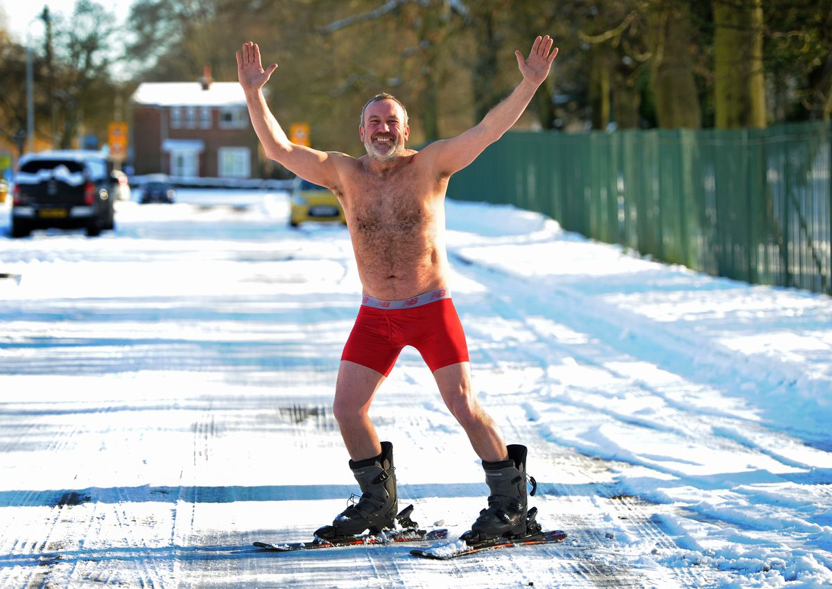 Mick Daffern braved the cold conditions for a ski in his underwear