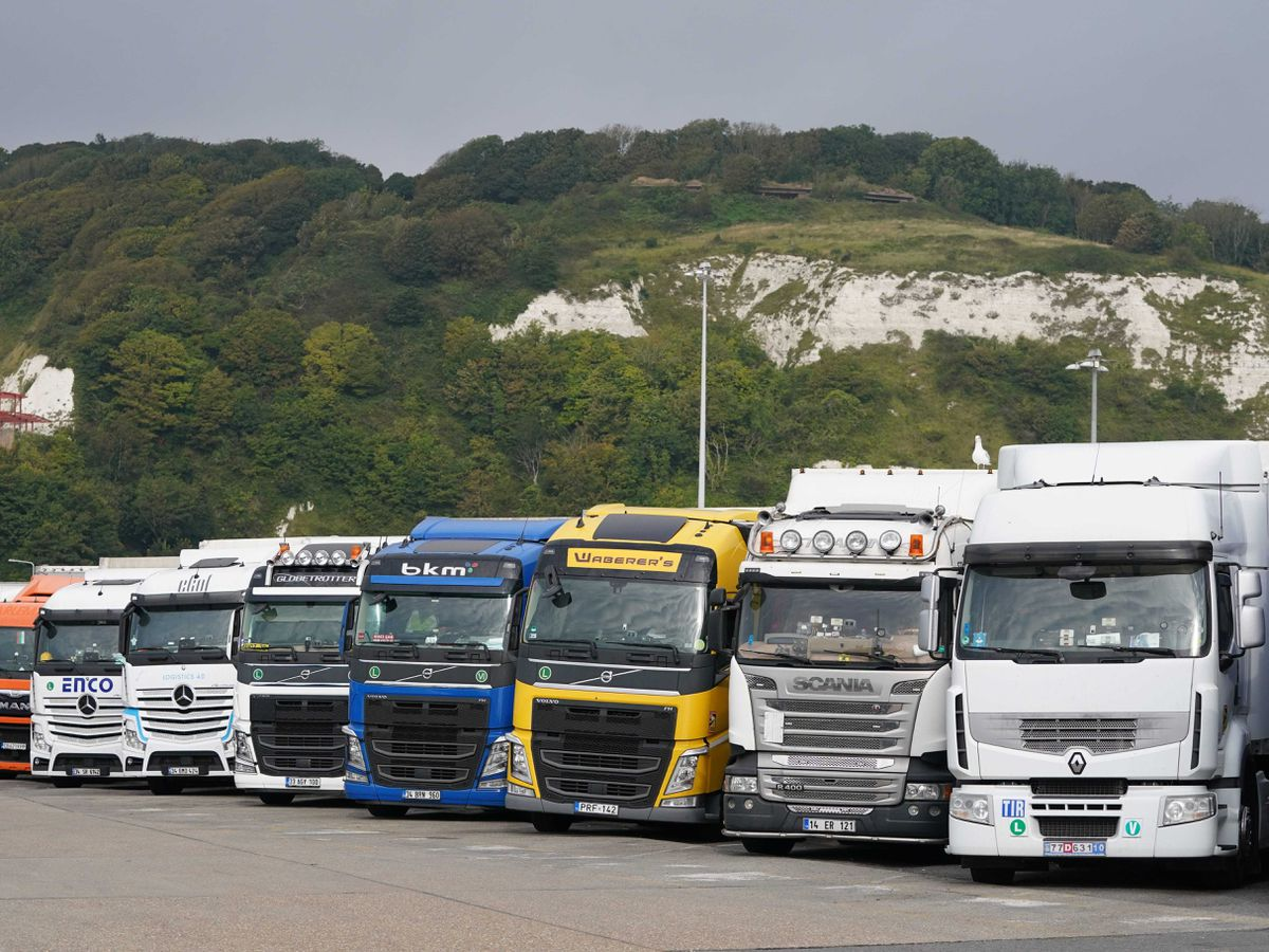 Lorries parked in Dover, Kent