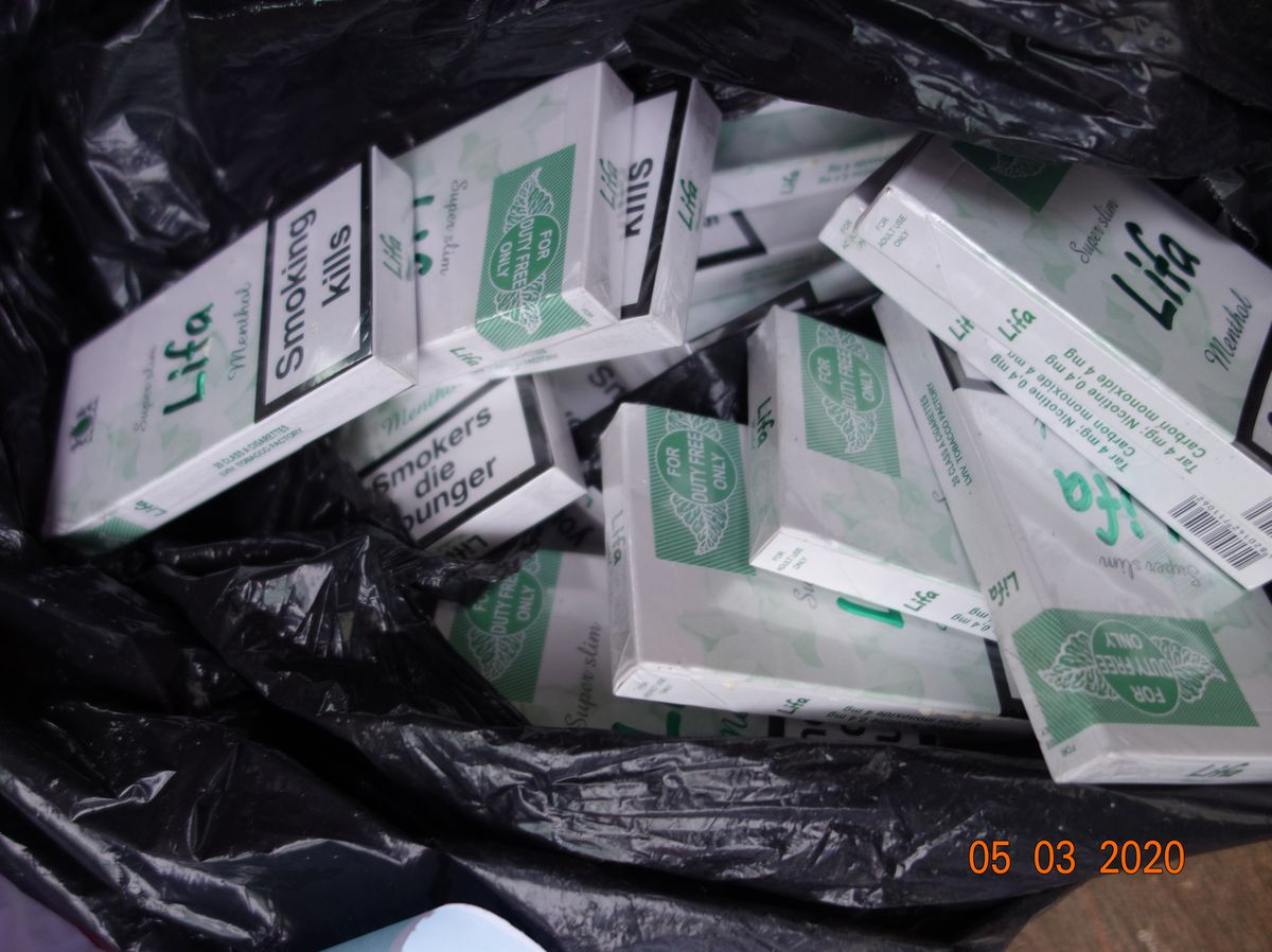 Some of the illicit cigarettes seized