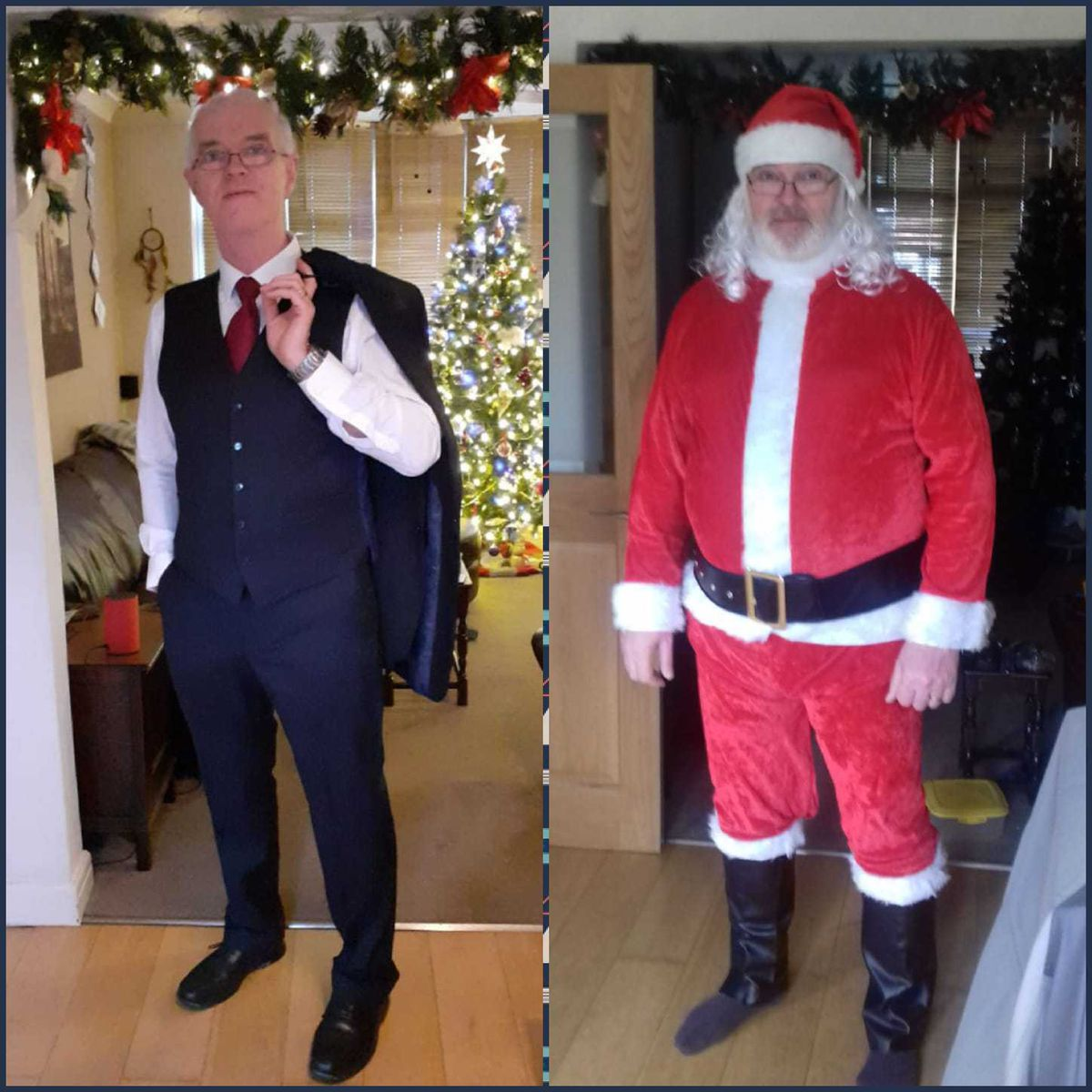 Now and then... Philip is now five and a half stone lighter and can fit back into the suit he wore for his daughter's wedding