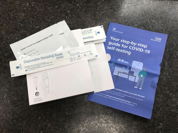 A package of Covid-19 self-testing kits (Zoe Linkson/PA)