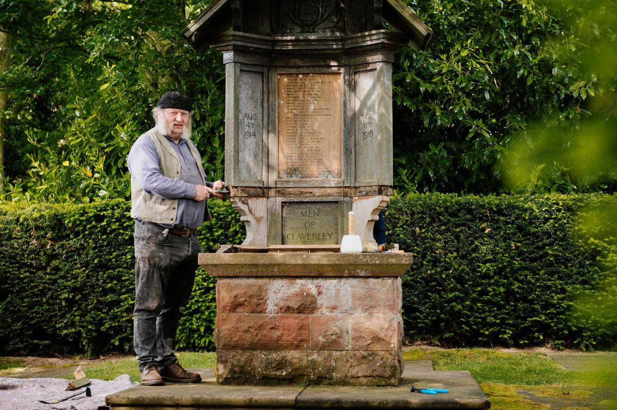 Alan Lamb from Swan Farm Studios in Ironbridge undertaking restoration work on a war memorial in Chyknell Hall