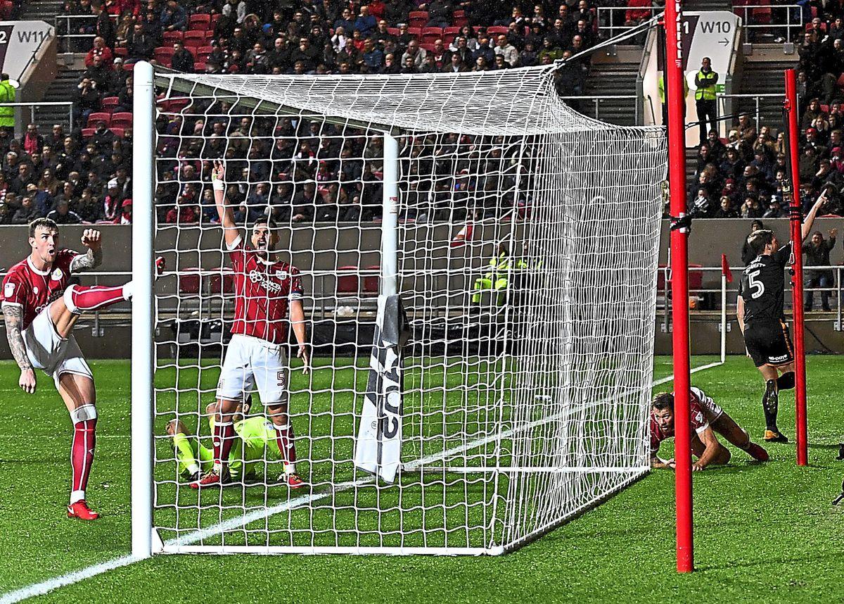 Ryan Bennett celebrates after scoring Wolves's winner against Bristol City (AMA/Sam Bagnall)