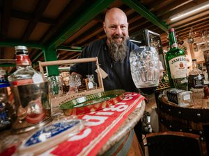 """LAST COPYRIGHT SHROPSHIRE STAR JAMIE RICKETTS 26/05/2021 - Old Mill Antiques Centre in Bridgnorth has noticed a surprising amount of """"home pub"""" items being sold during lockdown. In Picture: Stuart Bowen (Team Member).."""