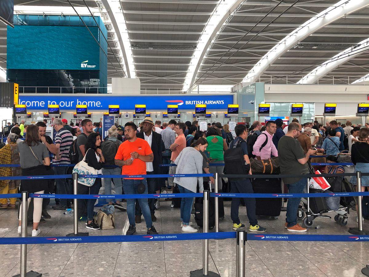 Queues in Terminal 5 at Heathrow airport