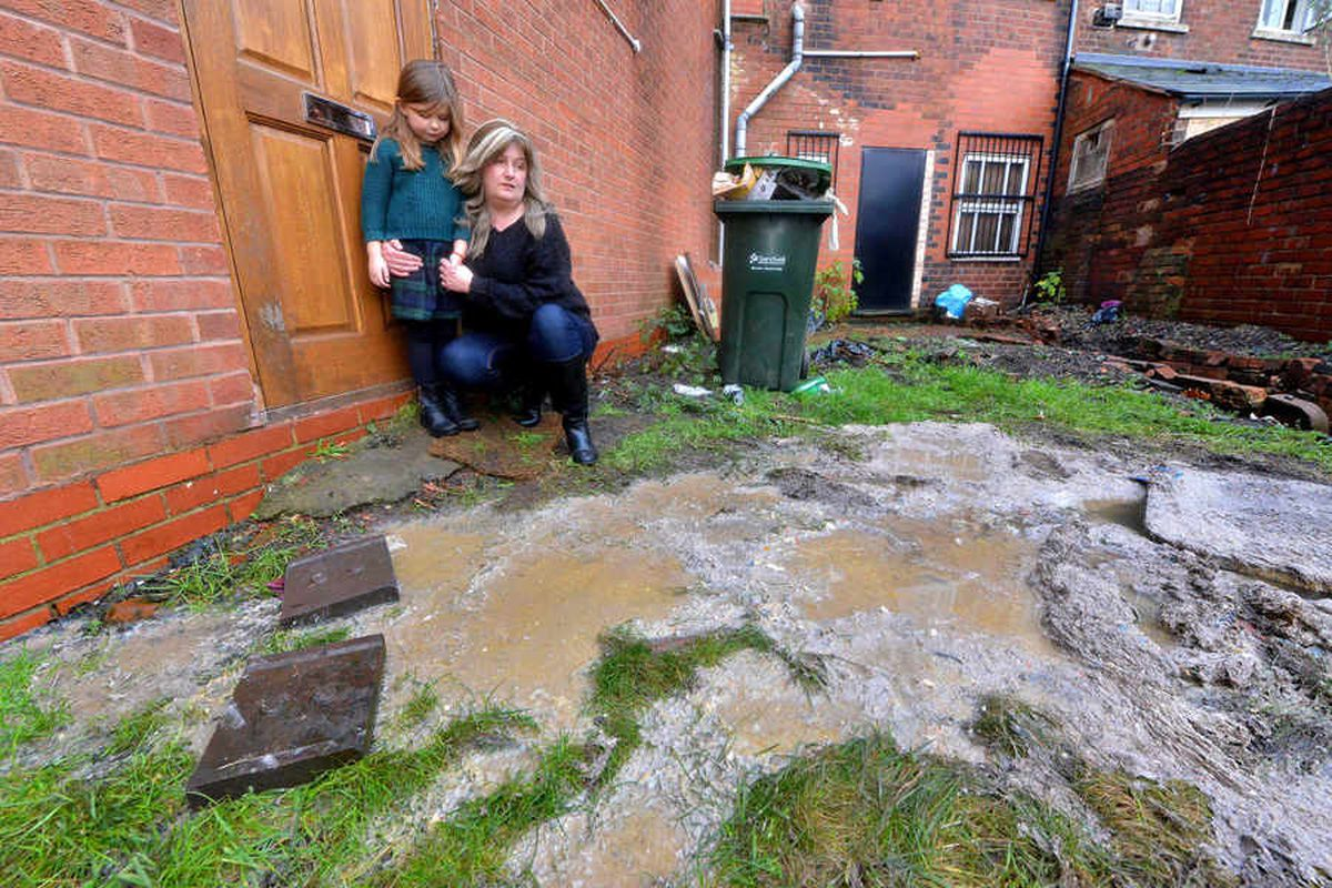 The sewage has been flowing from the manhole into the garden