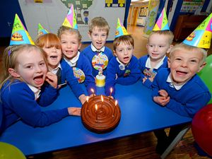As the children can't have friends and family for their birthdays at the moment, Landywood Primary School, Great Wyrley, are organising class based birthday parties across school to celebrate all birthdays for children and staff. Pictured celebrating their birthdays are Amberley Proctor, Millie Jennings, Maddison-May Sandland, Joel Wallis, Dougie Brown and Joshua Smith