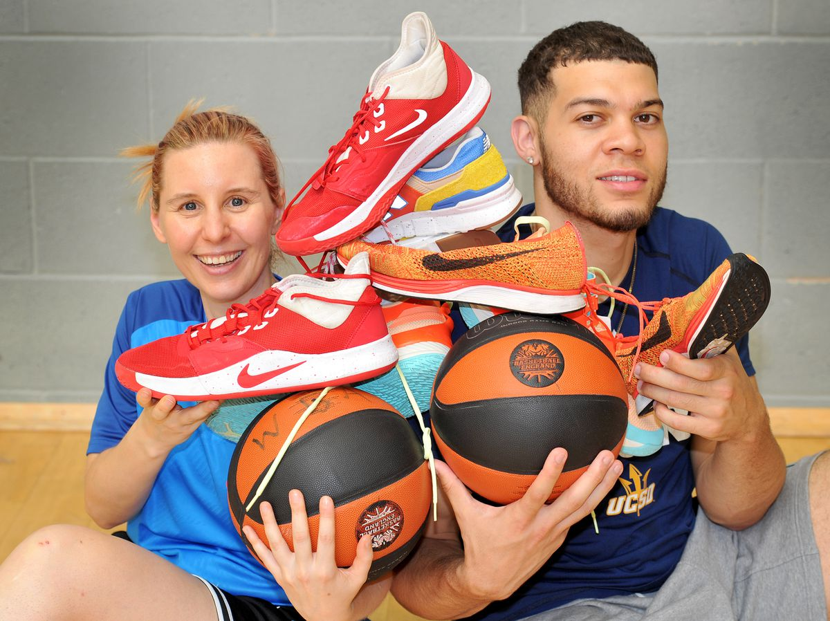Sarah Booth with British basketball star Jordan Williams, who was showing his support for the initiative at Dudley College
