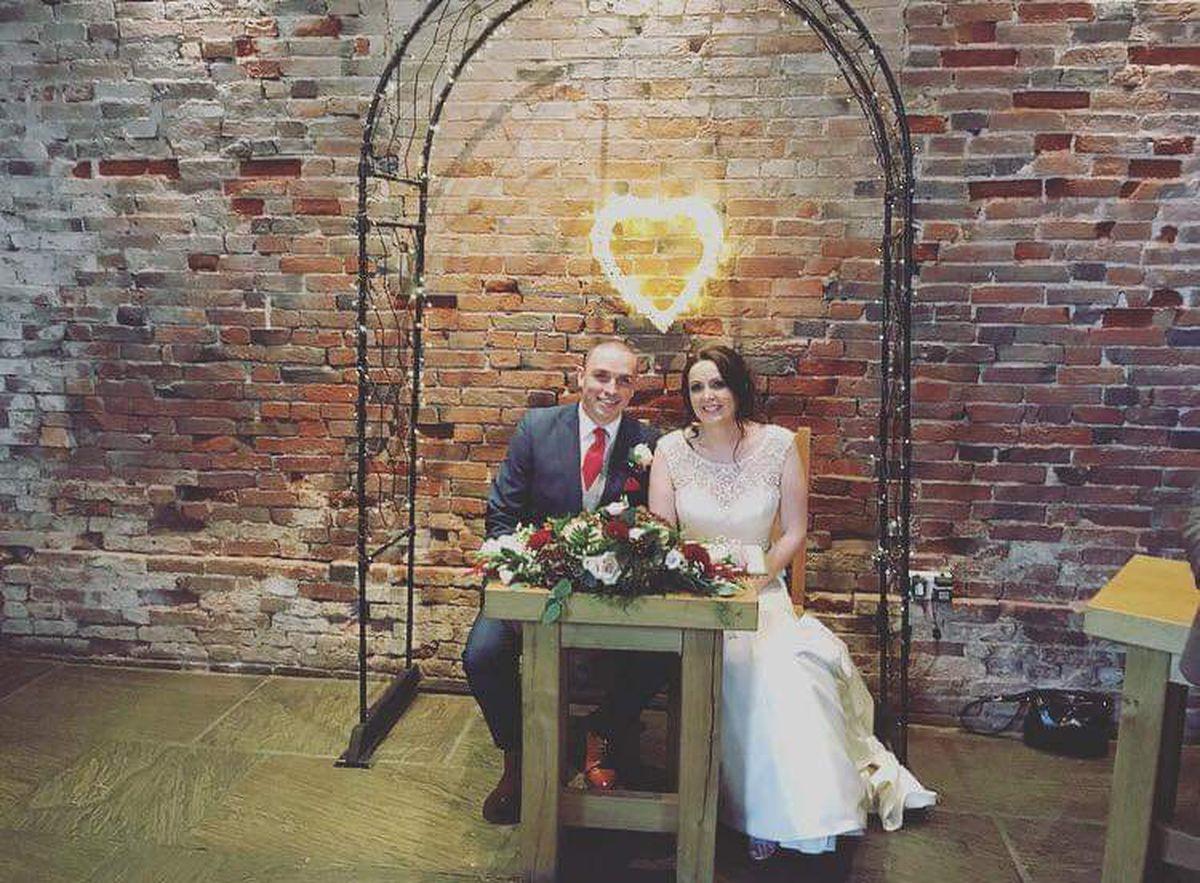 Vikki and Phil Kemp at their wedding