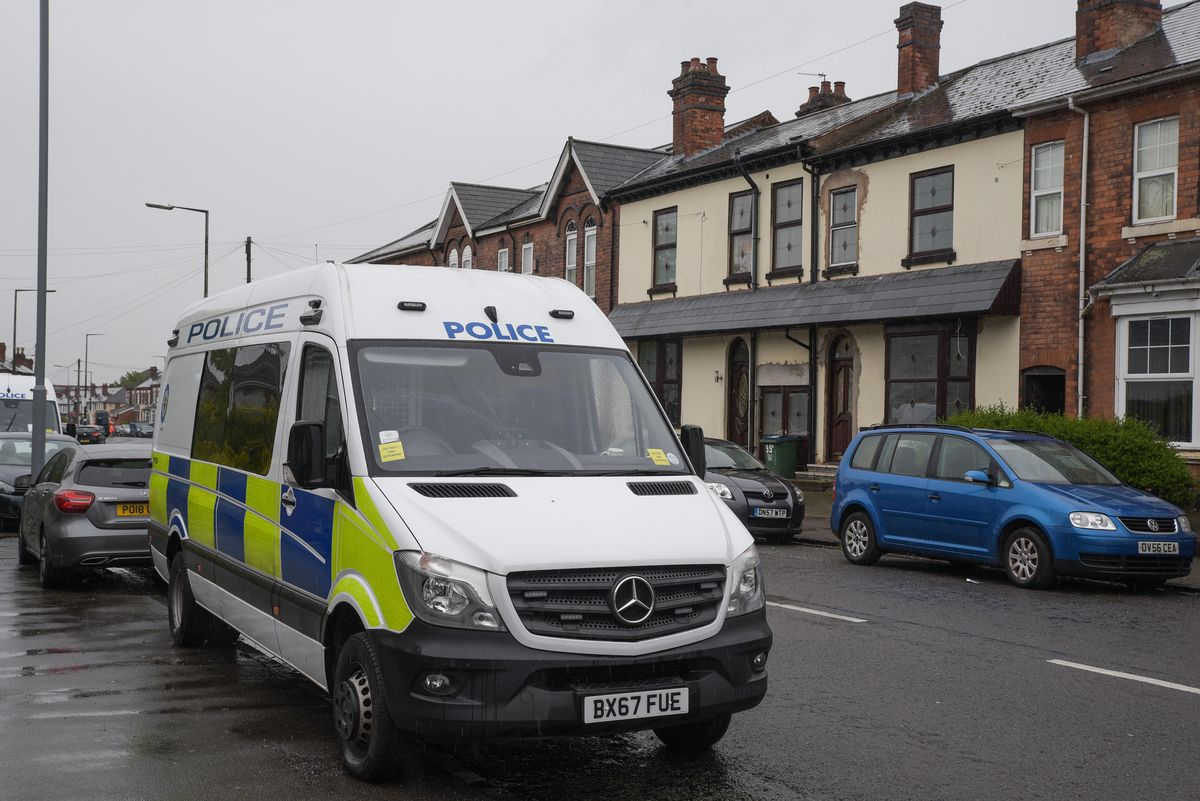 A police van at the scene on Tuesday morning. Photo: SnapperSK