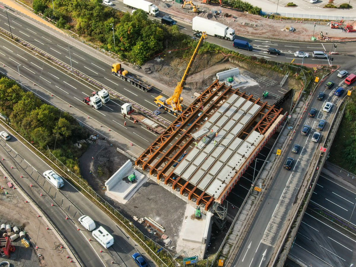 Drone photos showing the work at Junction 10 of the M6. Photo: Paul Turner