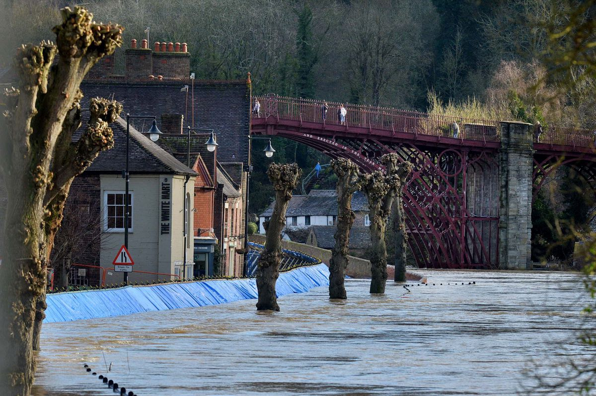 River Severn flooding in Ironbridge on Friday