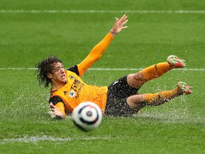 """Wolverhampton Wanderers' Fabio Silva goes to ground and appeals during the Premier League match at The Hawthorns, West Bromwich. Issue date: Monday May 3, 2021. PA Photo. See PA story SOCCER West Brom. Photo credit should read: Geoff Caddick/PA Wire. ..RESTRICTIONS: EDITORIAL USE ONLY No use with unauthorised audio, video, data, fixture lists, club/league logos or """"live"""" services. Online in-match use limited to 120 images, no video emulation. No use in betting, games or single club/league/player publications.."""