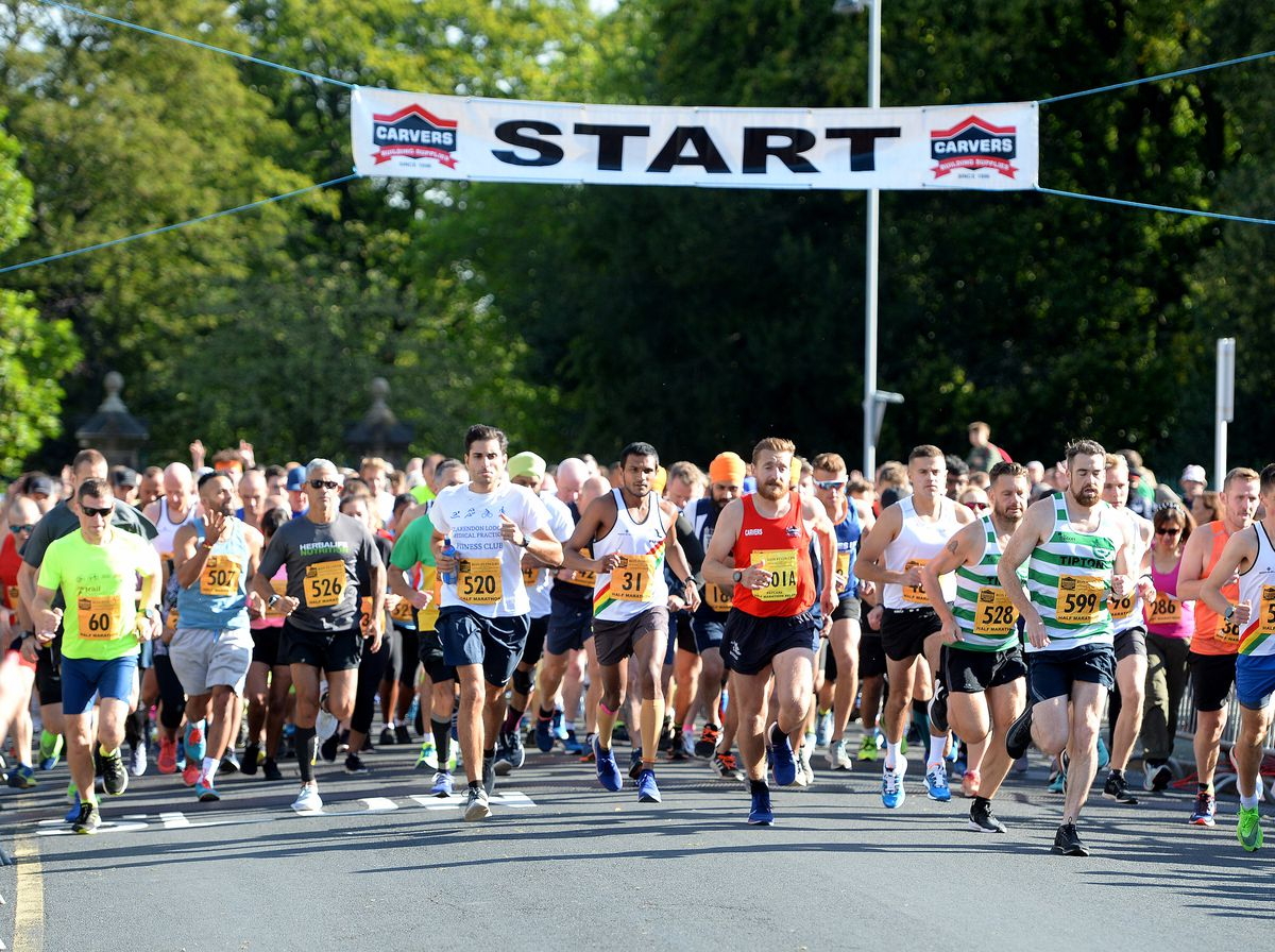 And there's off! The half marathon begins. All pictures: Tim Thursfield