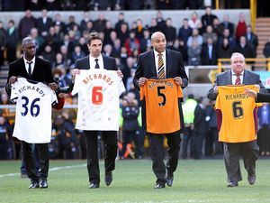 Former teammates of Dean Richards Ledley King, Claus Lundekvam, Matt Murray and Bradford City joint chairman Mark Lawn on the pitch as part of the tribute.