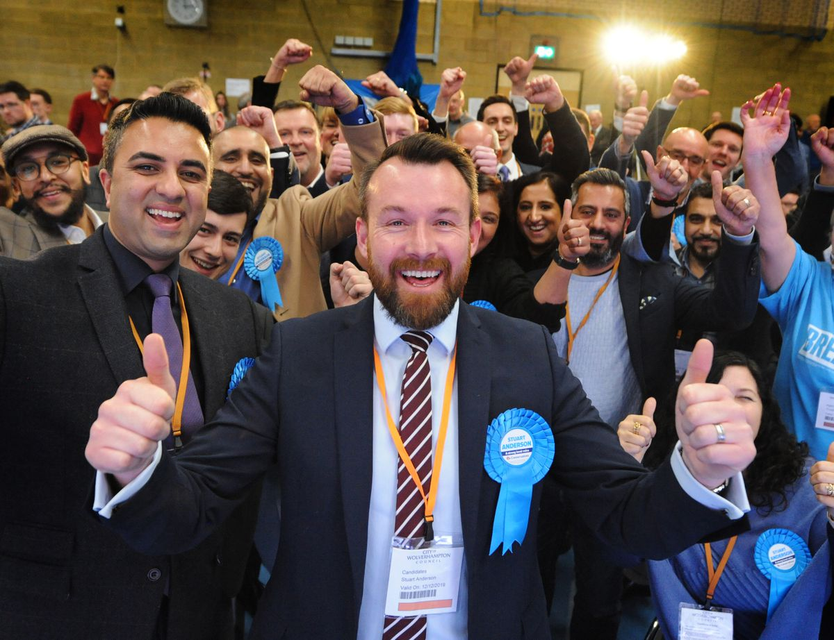 Stuart Anderson celebrates winning Wolverhampton South West, one of several key seats to swing from Labour to the Tories