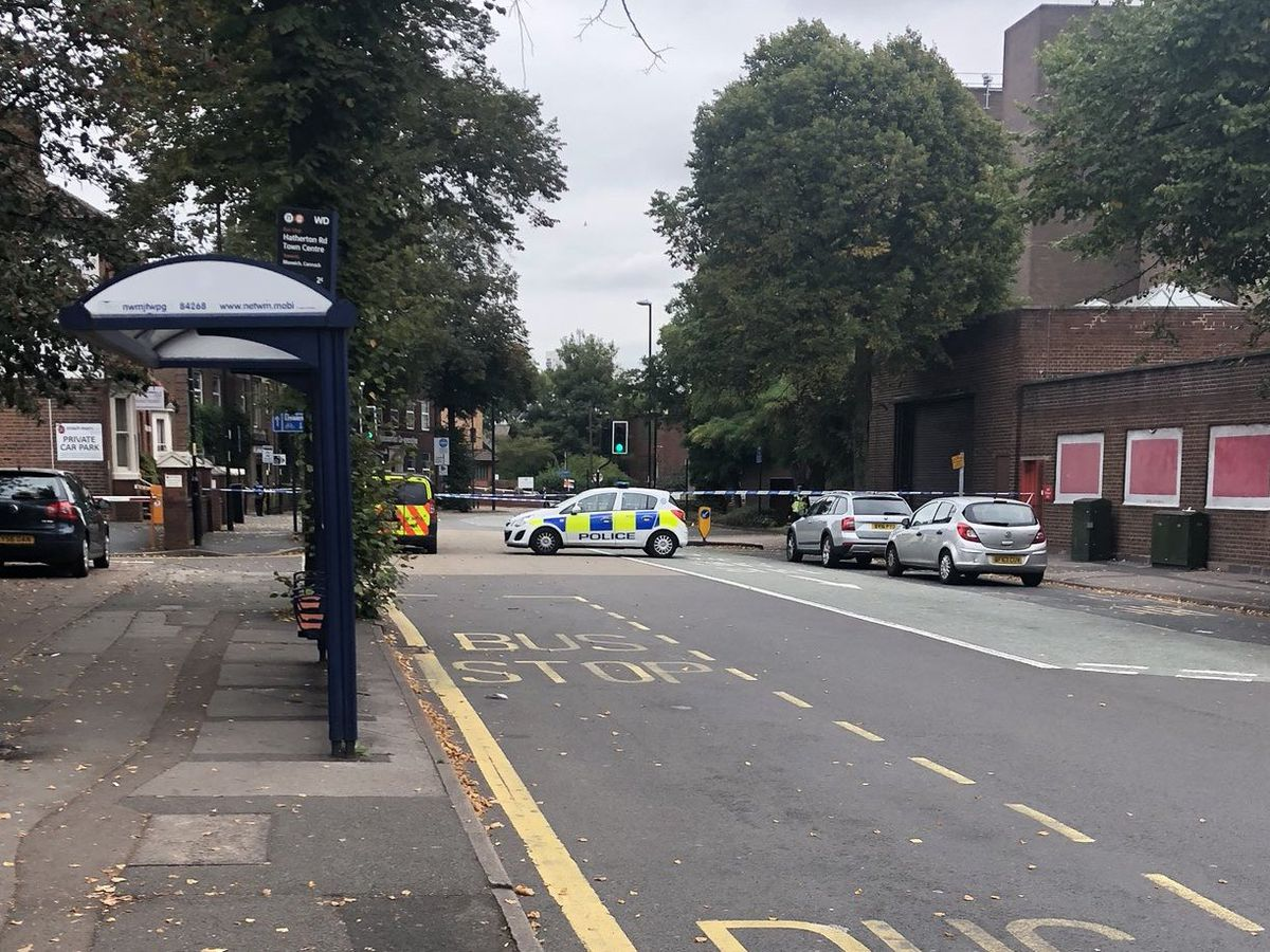 Police cordoned off the scene after the hit-and-run which left an officer in hospital. Picture: David