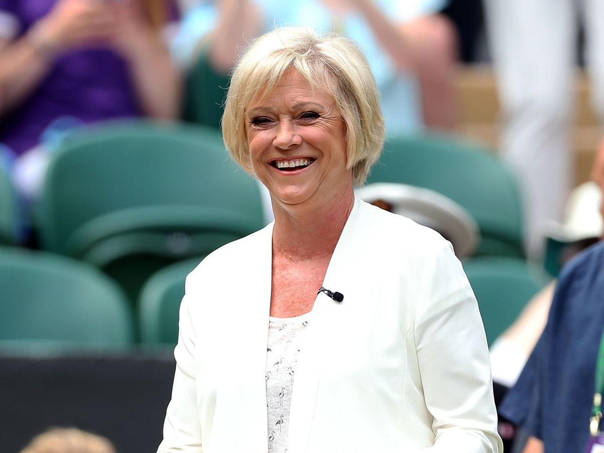 Sue Barker in the royal box of centre court at Wimbledon