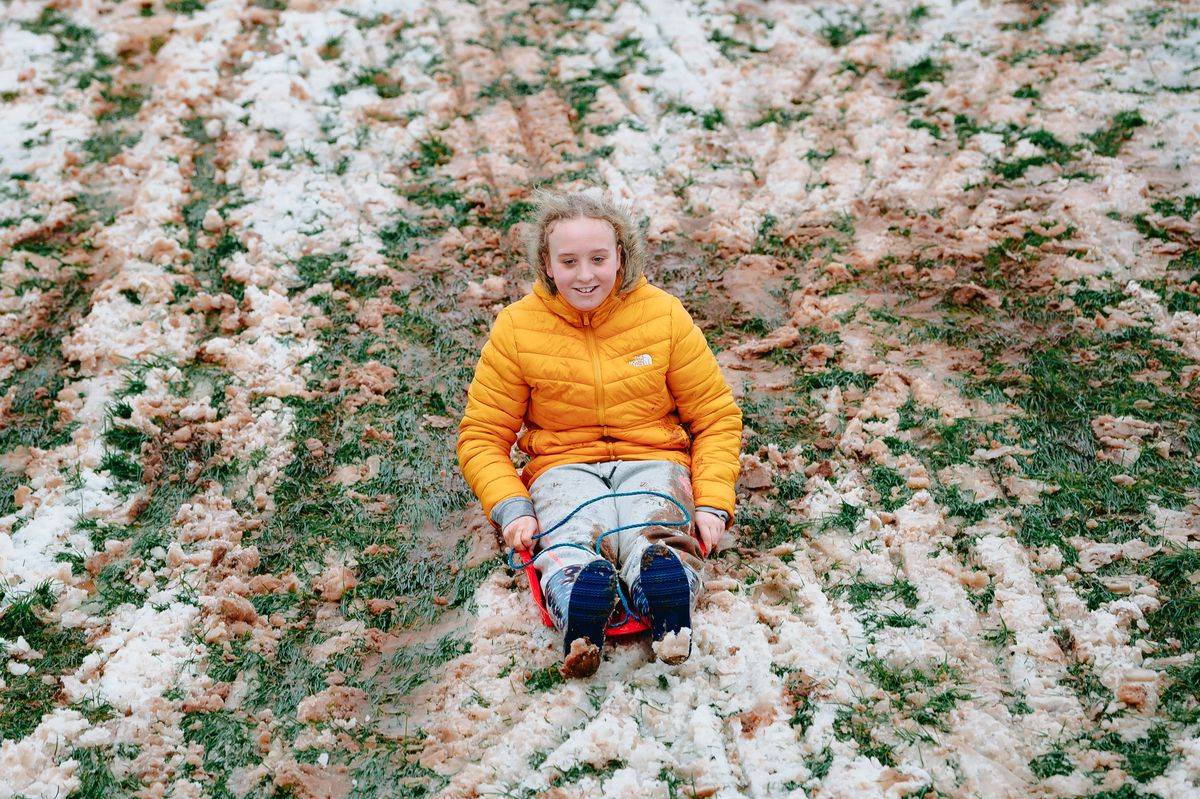 Isabel Bates,13, on her sledge