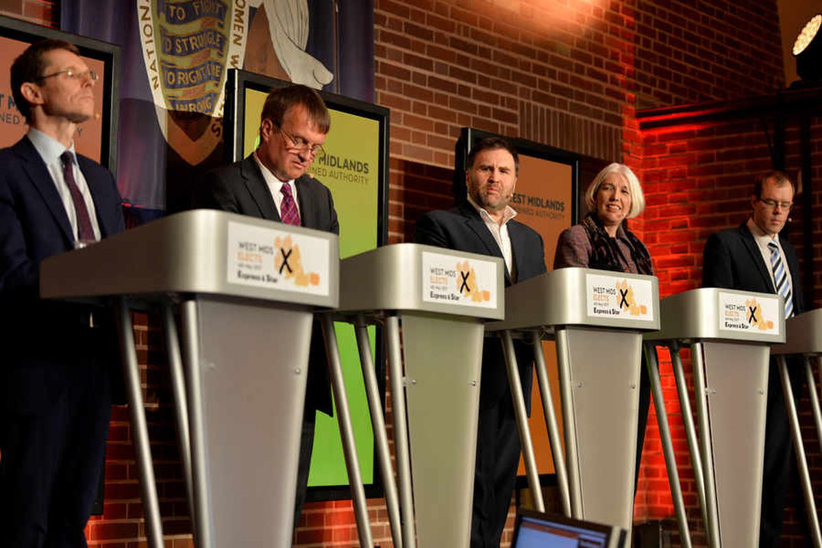 Candidates Andy Street, Pete Durnell, Siôn Simon, Beverley Nielsen and James Burn at the Express & Star debate