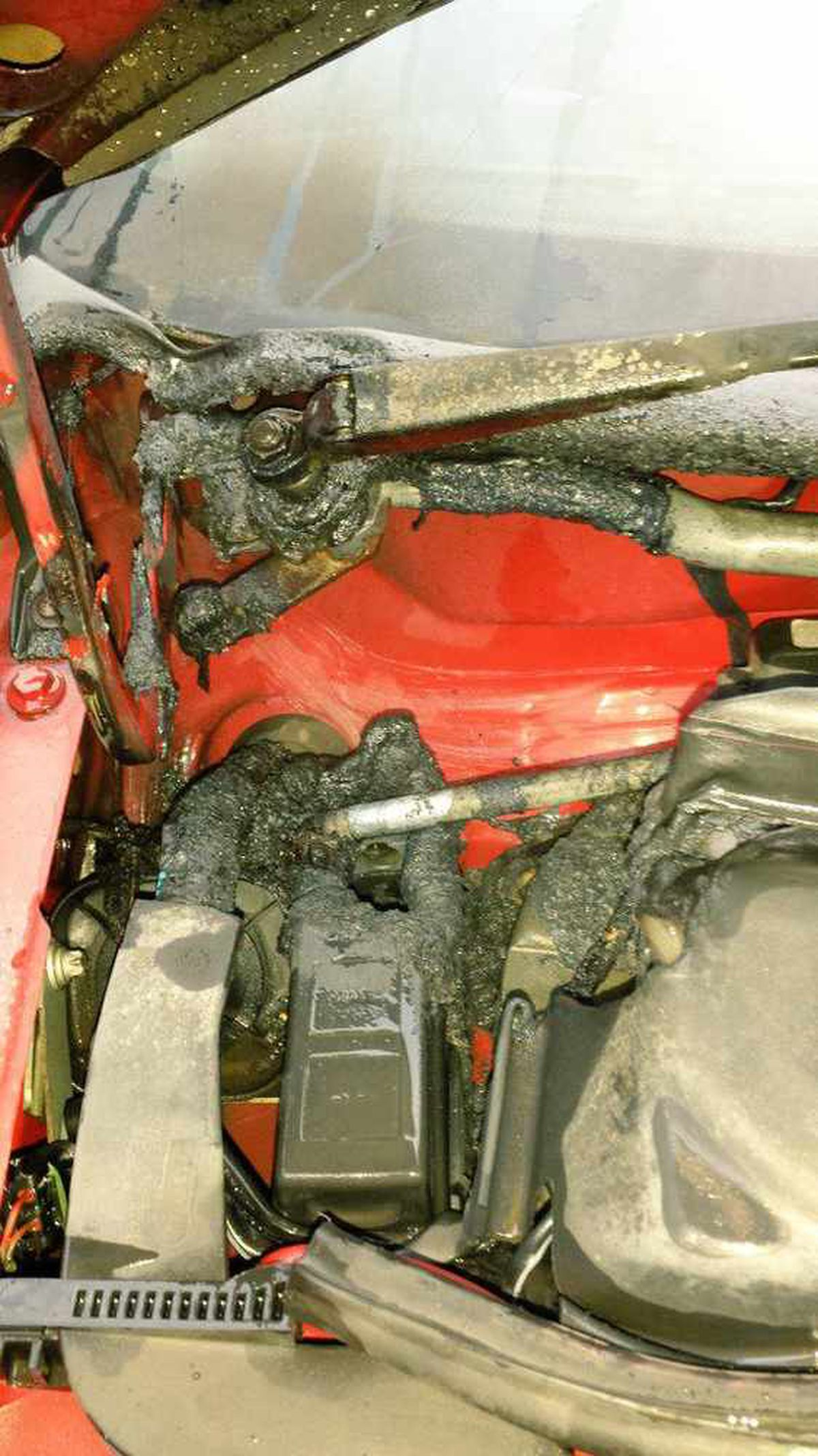 The damage caused to the car by the fire, picture: West Midlands Fire Service