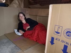 Sarah Sylvester, fundraising manager at YMCA Sutton Coldfield, slept the night in a garage
