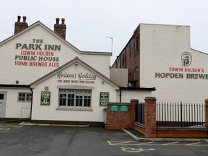 DUDLEY ALAN EVANS COPYRIGHT  EXPRESS & STAR 09/03/15 Holden's Brewery who are coming up to their 100th Anniversary.   Their first pub on the left where brewing first started in the cellar with the main brewing factory now on the right.  ( Holdens Brewery ).