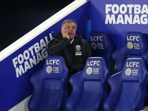 A dejected Sam Allardyce head coach / manager of West Bromwich Albion watches his side lose 3-0.