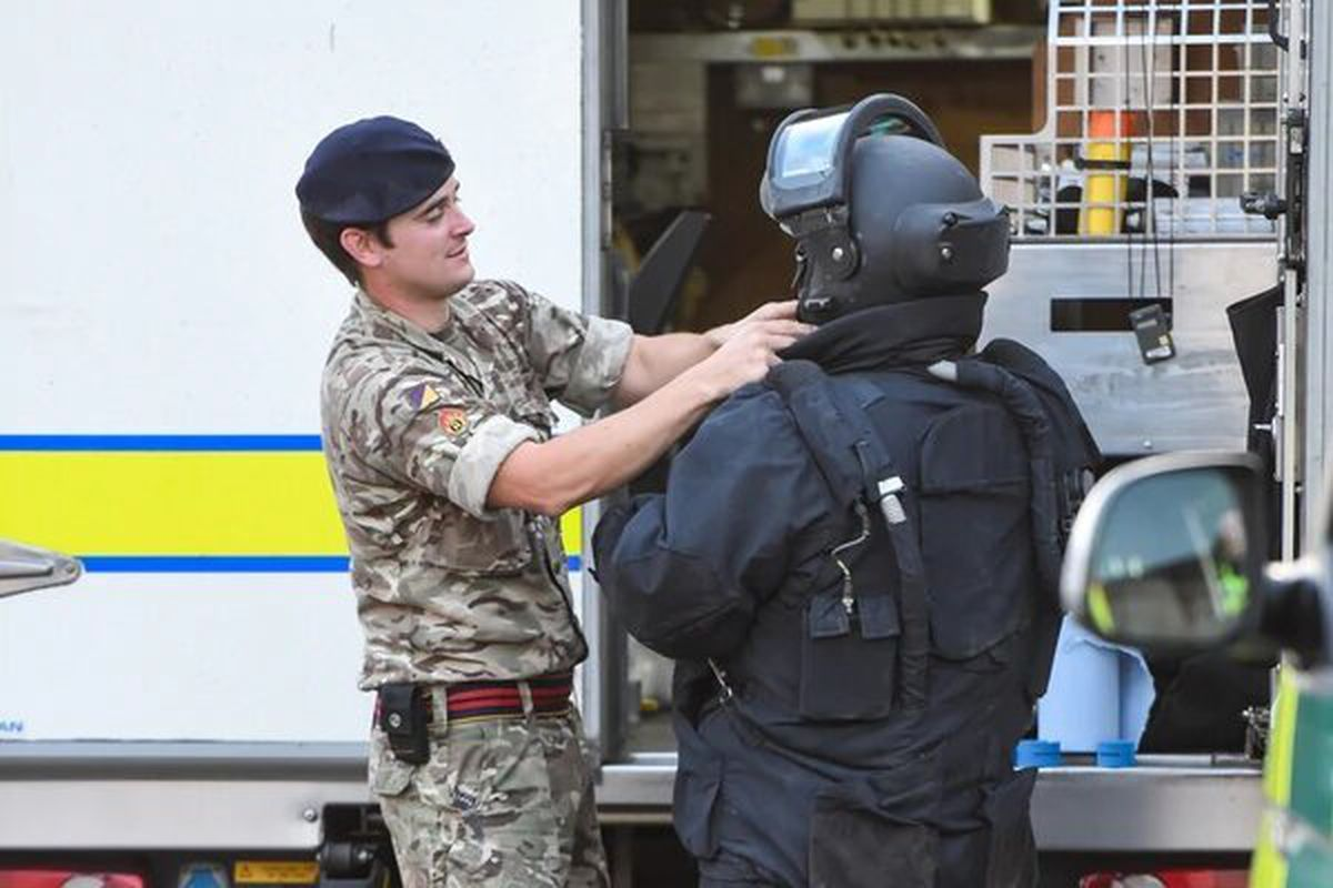 The Royal Logistic Corps Bomb Disposal team in Tipton. Photo: SnapperSK