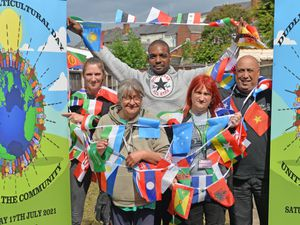 Roz Lewis, Jane Davis, Dwain Young, Rebecca Small and Frankie Prazer prepare for Dudley Multicultural Day