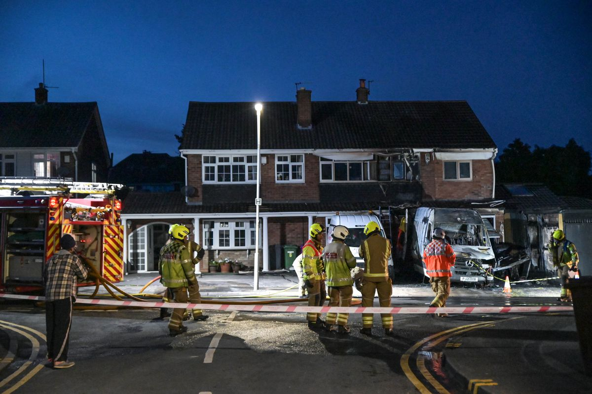 Emergency services at the scene of the fire in Pencombe Drive, in Wolverhampton. Photo: Snapper SK