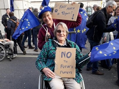 Pioneer of Britain in EU, 91, attends protest march for second Brexit referendum