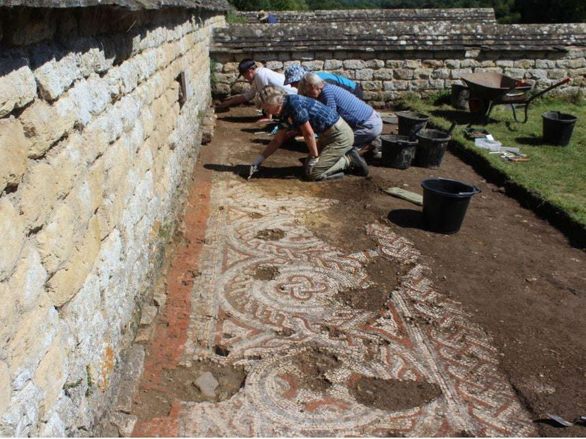 A mosaic unearthed at the Roman villa in Chedworth, Gloucestershire