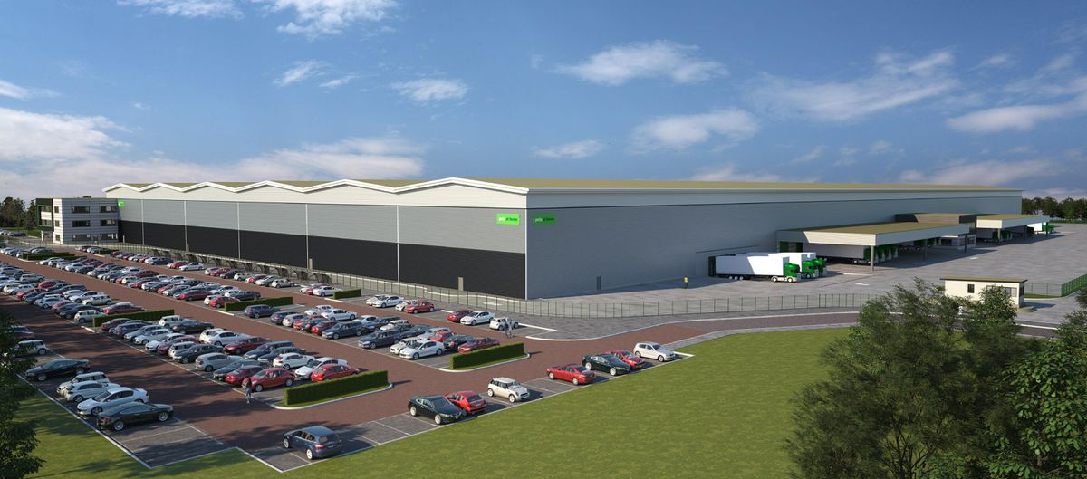 A computer-generated image of a proposed 670,000 sq ft national storage and distribution centre in Stafford