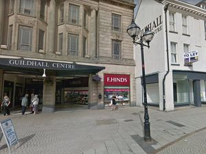 A Google Street View Image Of The Empty Shop Unit At The Front Of The Guildhall Shopping Centre In Stafford\\\'S Market Square Set To Become A Specsavers.