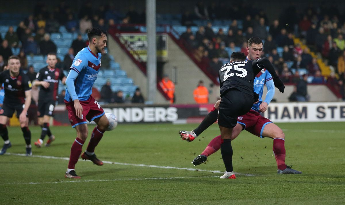 Wes McDonald fires Walsall in front (Pic Richard Parkes)