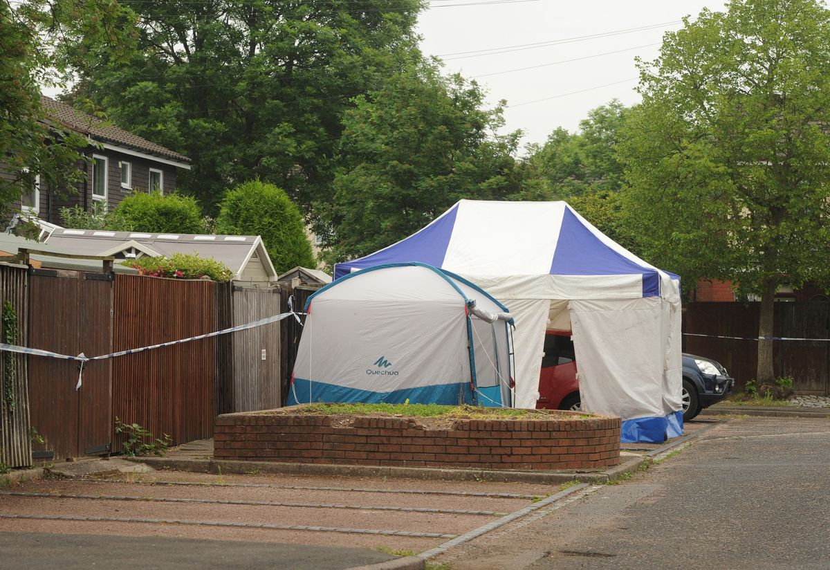 Police tents at the scene where Keelan was attacked