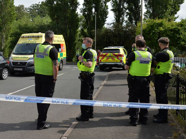 Police at the scene in Dudley Wood after the man died