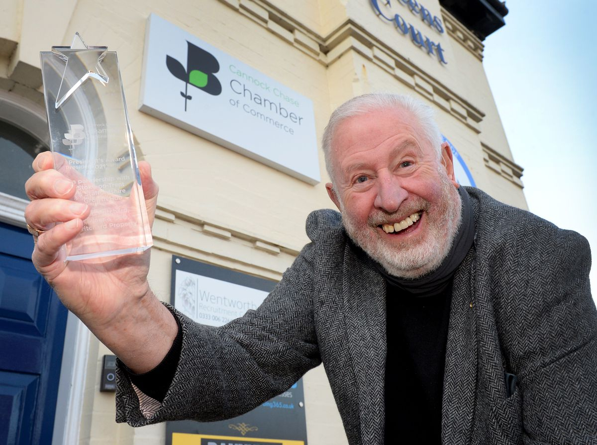 CANNOCK COPYRIGHT EXPRESS&STAR TIM THURSFIELD-17/02/21.Fred Pritchard has been awarded the Presidents Chamber award for his years of service and support of Cannock Chase Chamber of Commerce..