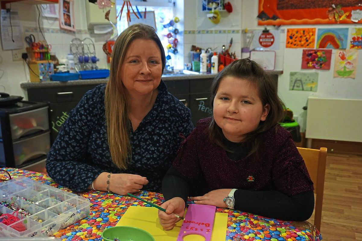 Isabella Lyttle with her mother Jennie at Acorns