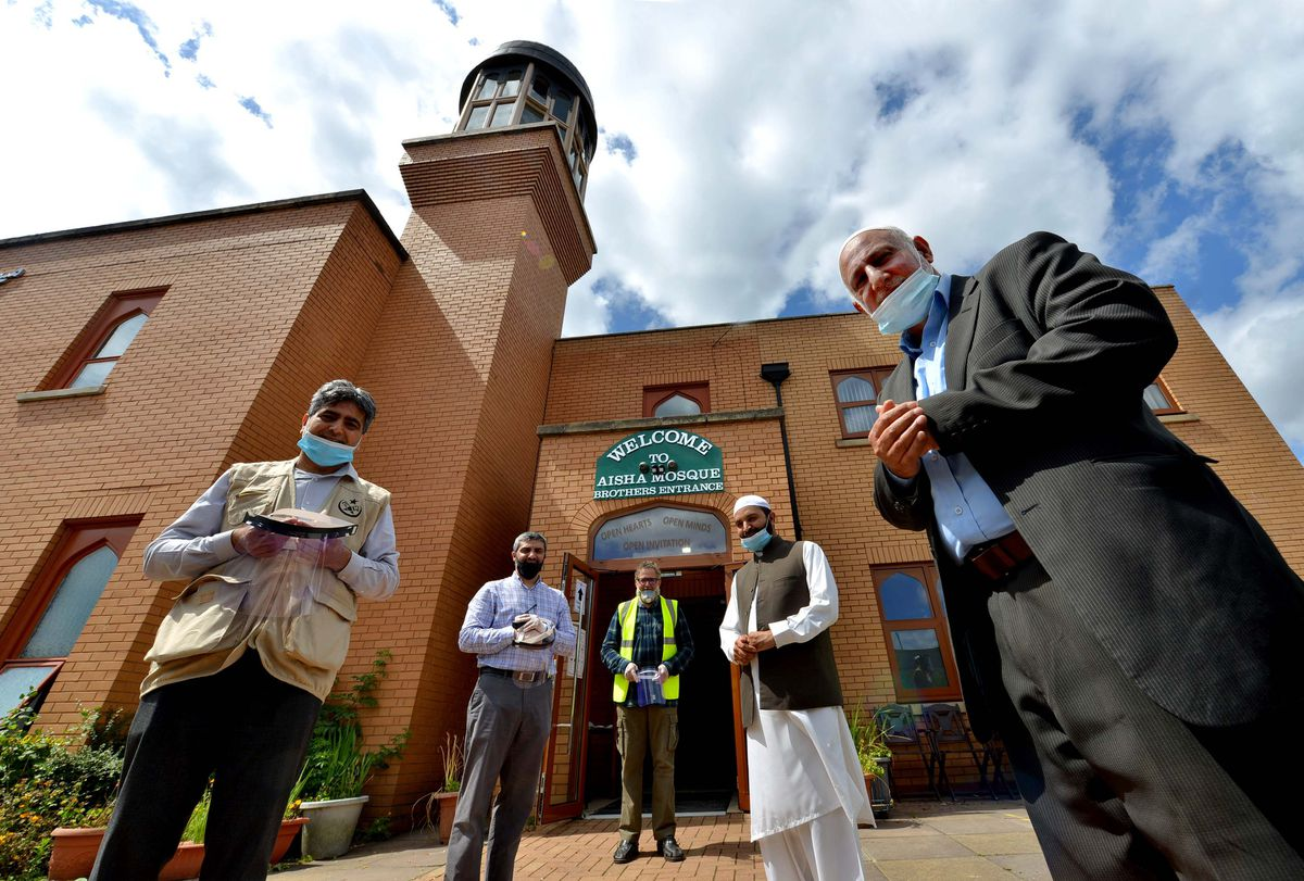 Tanveer Akmal, Dr Hammad Lodhi, Mosque president Shabir Hussain, Imam Muhammed Saeed and Mohammed Arif, chair of the Union of Muslim Organisations in Walsall, have worked hard to ensure the mosque is compliant with all safety guidelines
