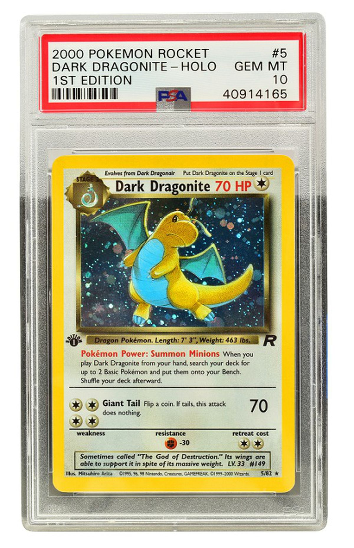 A 1st edition Team Rocket Dark Dragonite Holo, PSA Gem Mint 10, estimated to make £2,000-£3,000.