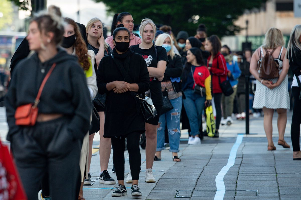The huge queue outside Primark in Birmingham which reopened to customers today