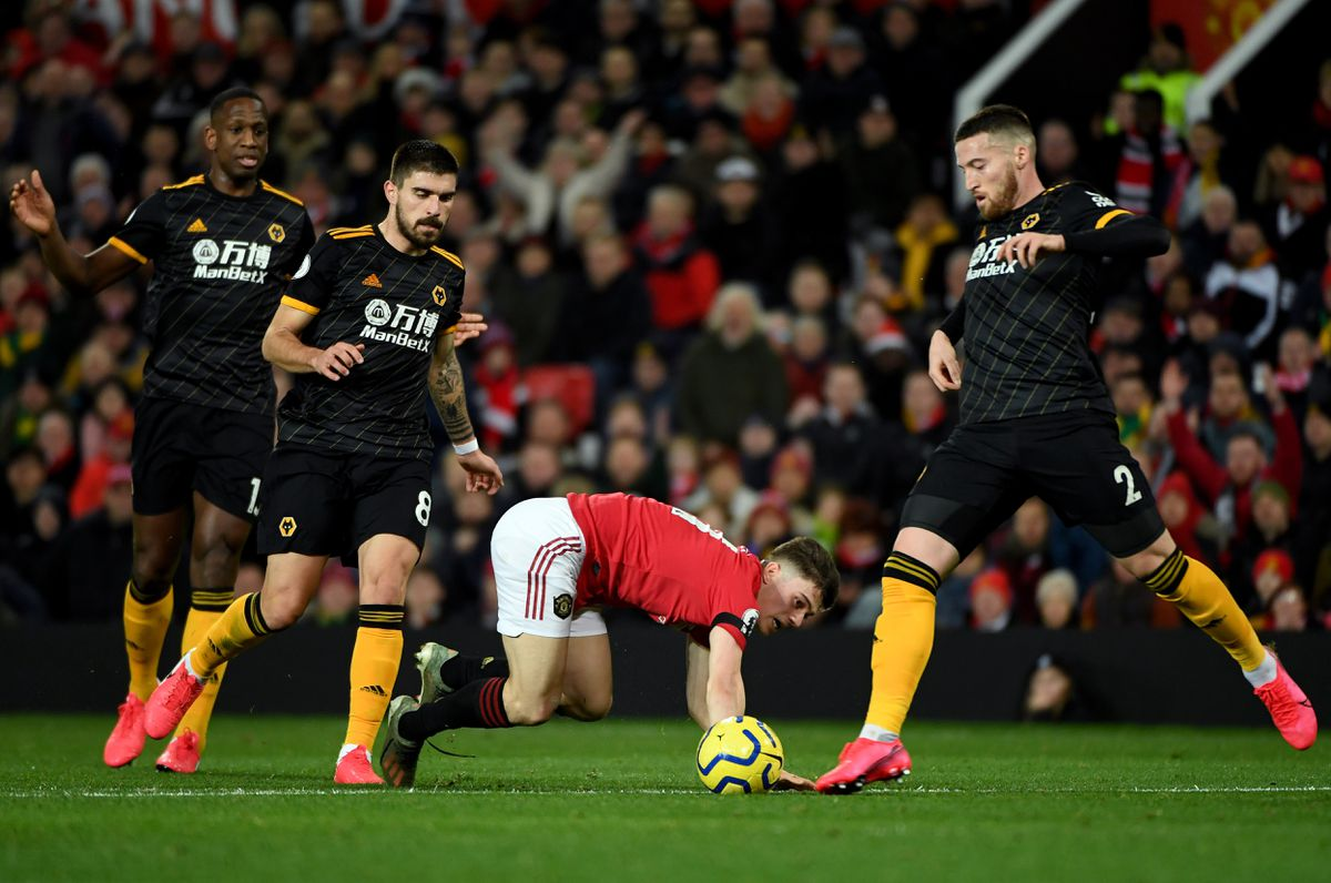 Daniel James of Manchester United and Matt Doherty of Wolverhampton Wanderers (AMA)