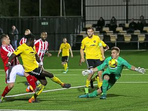 Orrin Pendley scores against Stourbridge during Rushall Olympic's 3-2 win in the Southern League Challenge Cup tie during midweek   Picture: Steve Walker