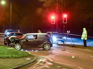 Police closed Wolverhampton Road, in Oldbury, after the crash involving two cars. Image: @SnapperSK