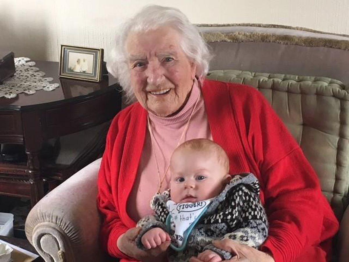 Ellen Sidaway with her great-grandson Thomas